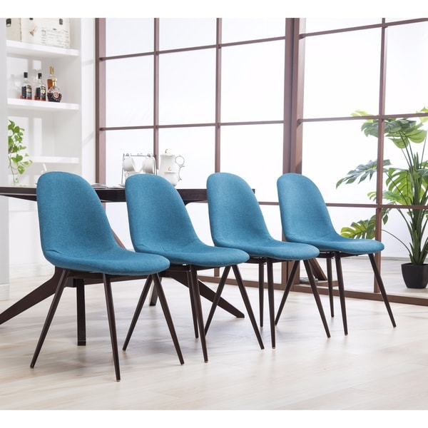 Genial Lassan Modern Contemporary Blue Fabric Dining Chairs, Set Of 4