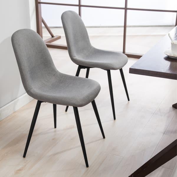 Stupendous Shop Lassan Modern Contemporary Fabric Dining Chairs Set Of Creativecarmelina Interior Chair Design Creativecarmelinacom