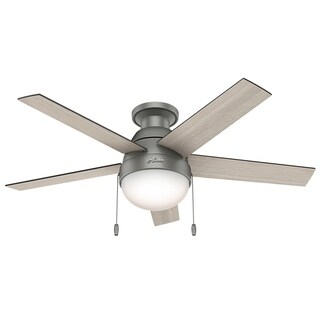 "Hunter Fan Anslee Matte Silver 46"" w / 5 Lt Grey Oak / Walnut Rev Blds"