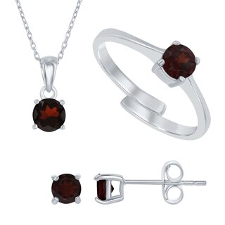 La Preciosa Sterling Silver Genuine Birthstone Adjustable Ring, Necklace, and Earring Gemstone Set