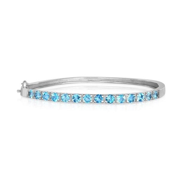 Blue Opal Greek Design .925 Sterling Silver Bangle Bracelet