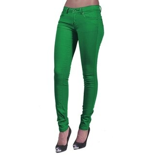 Women's 4 Pocket Solid Color Skinny Kelly Green Jeans