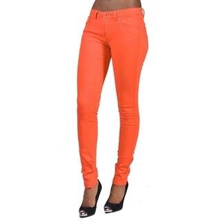 Women's 4 Pocket Solid Color Skinny Orange Jeans