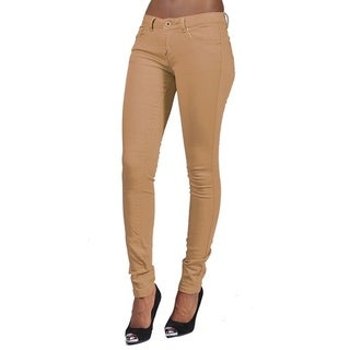Women's 4 Pocket Solid Color Skinny Khaki Jeans