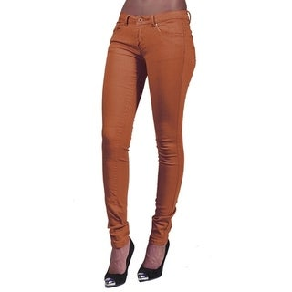 Women's 4 Pocket Solid Color Skinny Rust Jeans