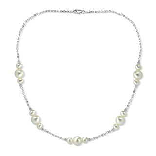 DaVonna Sterling Silver 5-10mm Freshwater Cultured Pearl stations chain Necklace, 18""
