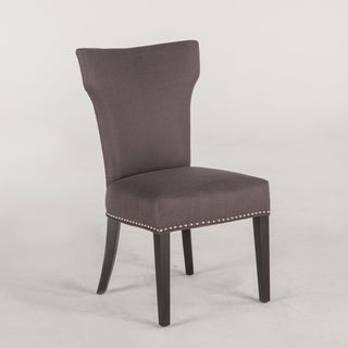 Quincy Set of Two Charcoal Grey Dining Chairs with Nailhead Trim