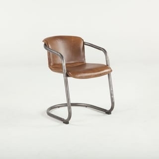 Set of Two Chiavari Distressed Brown Leather Dining Chairs