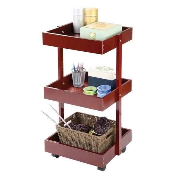 Classic Wooden Rolling Storage Cart 3 Tier Rolling Cart With Shelves