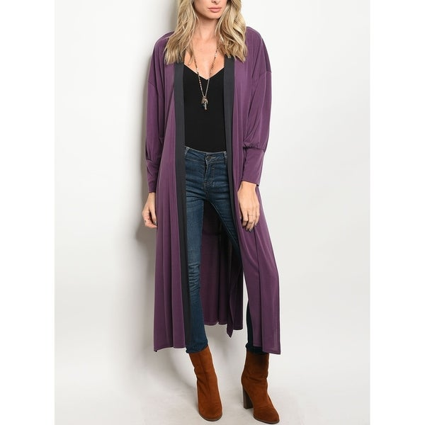 JED Women's Relax Fit Maxi Cardigan with Waist Tie