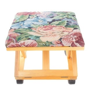 Adjustable Wooden Foot Stool Floral Tapestry Foot Rest
