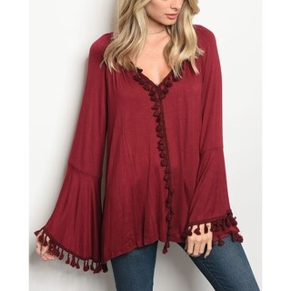 JED Women's Relax Fit Boho Bell Sleeve Top