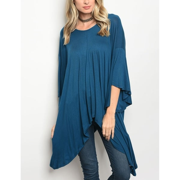 JED Women's Relax Fit Bell Sleeve Tunic Knit Top