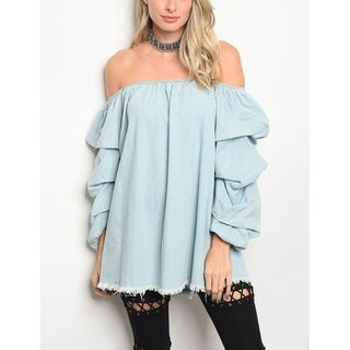 JED Women's Denim Off Shoulder Ruffled Sleeve Top|https://ak1.ostkcdn.com/images/products/18657657/P24752312.jpg?_ostk_perf_=percv&impolicy=medium