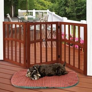 Folding Paw Print Inlaid Ceramic Dog Gate Wooden Pet Gate