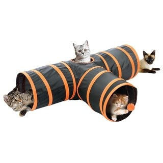 Fun Pet Cat Tunnel 3 Way Cat Tunnel - Orange Cat Crinkle Tunnel