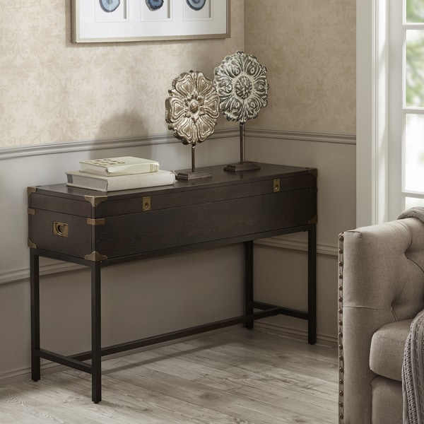Madison Park Signature Voyager Brown Wood Storage Console Table