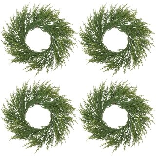 Artificial Faux Cypress Wreath - Set of 4