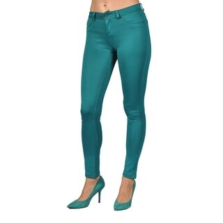 Womens Stretch Pants Zipper Fly and 2 Back Pocket Emerald Green
