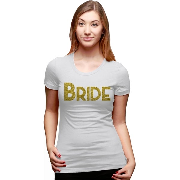 70d0c21f2c Womens Bride Gold Glitter Text Tee