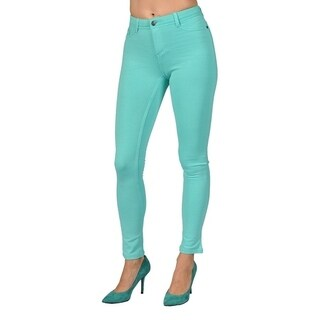 Womens Colored Stretch Leggings Pants 2 Back Pocket Mint