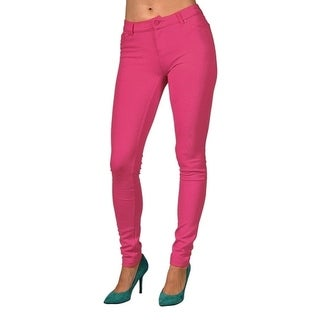 Womens Colored Stretch Leggings Pants 2 Back Pocket Neon Pink (3 options available)