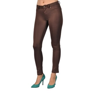 Womens Colored Stretch Leggings Pants Brown