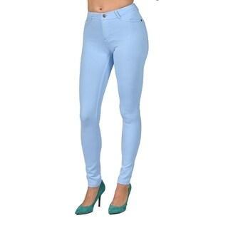 Womens Colored Stretch Leggings Pants 2 Back Pocket Sky Blue
