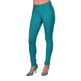Womens Colored Stretch Leggings Pants 2 Back Pocket Peacock