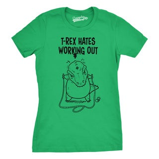 Womens T-Rex Hates Jump Rope Funny Working Out Dinosaur T shirt