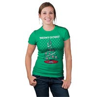 Womens Meowy Christmas Ugly Christmas Sweater Tee (GREEN)