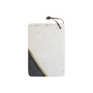 Jay Imports Marble White Sparkle/Brass Cutting Board
