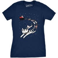 Womens Cat Reindeer Sleigh Tshirt Funny Santa Christmas Holiday Party Tee