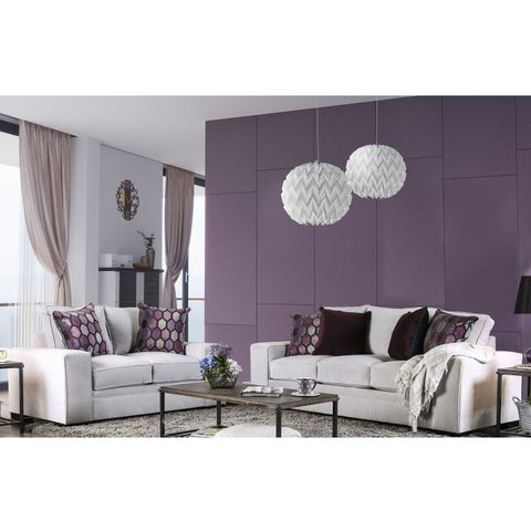 Furniture of America Lenael Contemporary 2-piece Light Grey Velvet-like Sofa Set