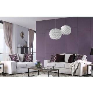 Furniture Of America Lenael Contemporary 2 Piece Light Grey Velvet Like Sofa  Set