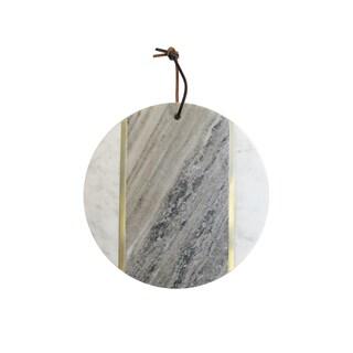 Marble Beige/White/Brass Round Board