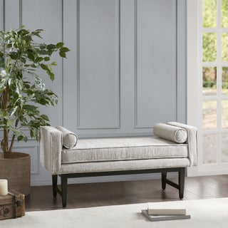 Madison Park Lovall Cream Upholstered Accent Bench