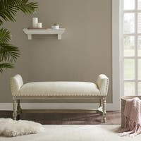 Madison Park Wilking Cream Upholstered Accent Bench