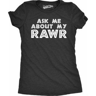 Womens Ask Me About My Rawr Tshirt Funny Jurassic Dinosaur T-Rex Flip Up Tee