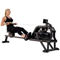 Sunny Health & Fitness Water Rowing Machine Rower w/ LCD Monitor - Obsidian SF-RW5713