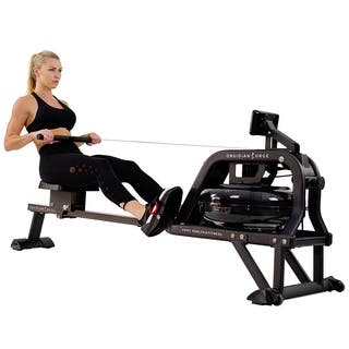 Sunny Health Fitness Obsidian Surge Water Rowing Machine -SF-RW5713