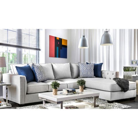 Furniture of America Lave Transitional Grey Fabric 2-piece Sectional