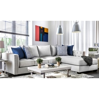 Furniture of America Lave Contemporary Grey Fabric 2-piece Sectional