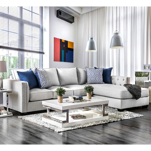 Furniture of America Delerd Light Grey L-Shaped Sectional