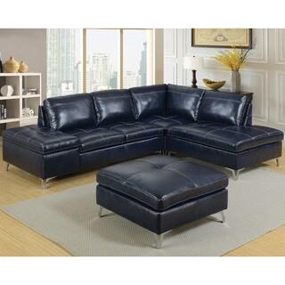 Furniture Of America Cleoren Contemporary Dark Blue Sectional