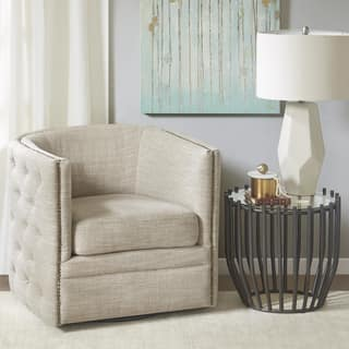 living room swivel chairs. Madison Park Wilmette Cream Linen Upholstered Swivel Chair Living Room Chairs For Less  Overstock com