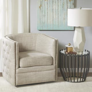 Madison Park Wilmette Cream Linen Upholstered Swivel Chair Living Room Chairs For Less  Overstock com