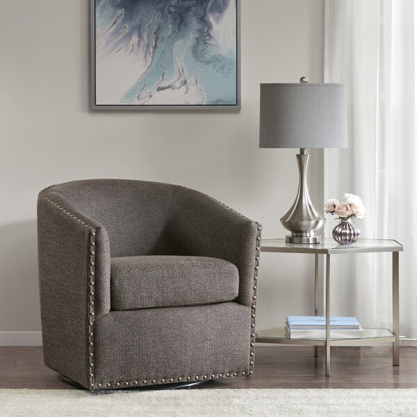 Shop Madison Park Memo Chocolate Swivel Chair On Sale