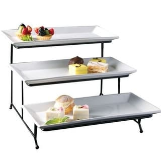 Porcelain 3 Tier Serving Tray - Rectangular Dessert Stand Serving Platter