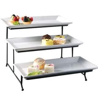 Porcelain 3 Tier Serving Tray - Rectangular Dessert Stand Serving Platter